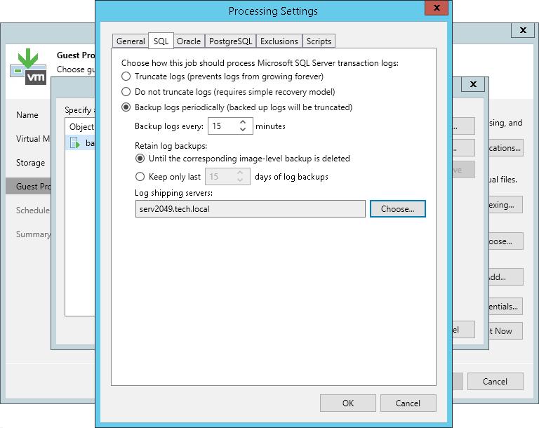 Microsoft SQL Server Transaction Log Settings - Veeam Backup Guide