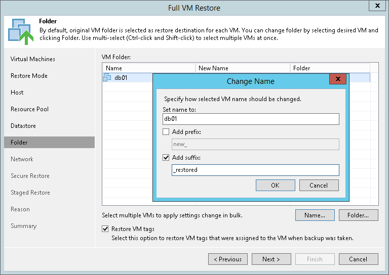 Step 8. Select Target Folder and Change VM Names