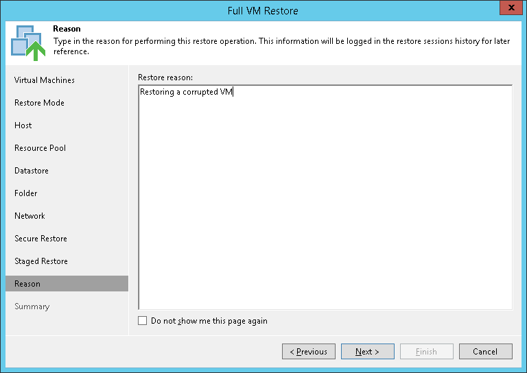 Step 10. Specify Restore Reason