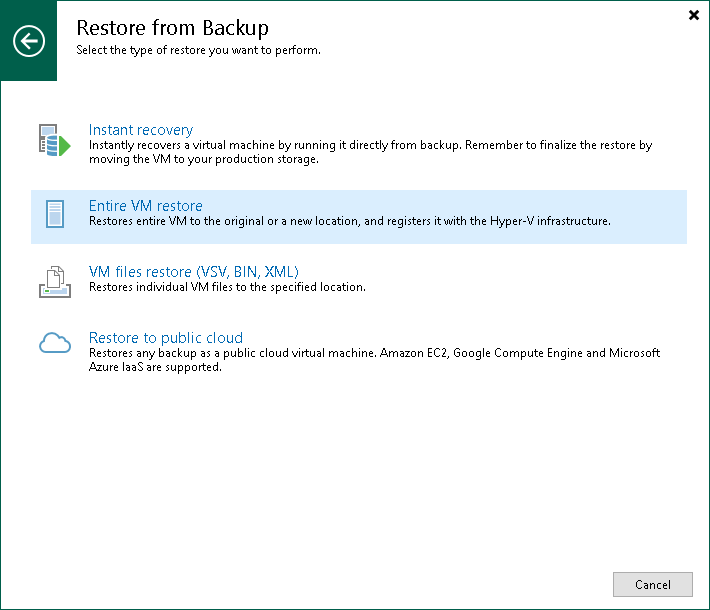 Step 1. Launch Restore Wizard