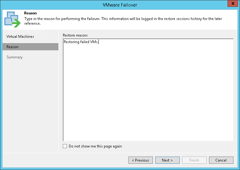 Step 4. Specify Failover Reason