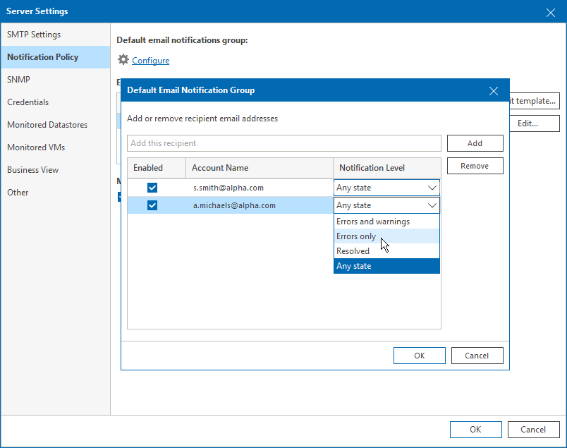 Step 4  Configure Email Recipients - Veeam ONE Alarms Guide