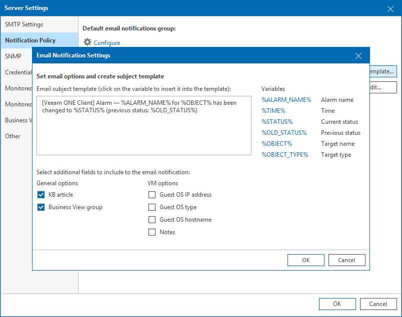 Step 3  Customize Email Template - Veeam ONE Alarms Guide