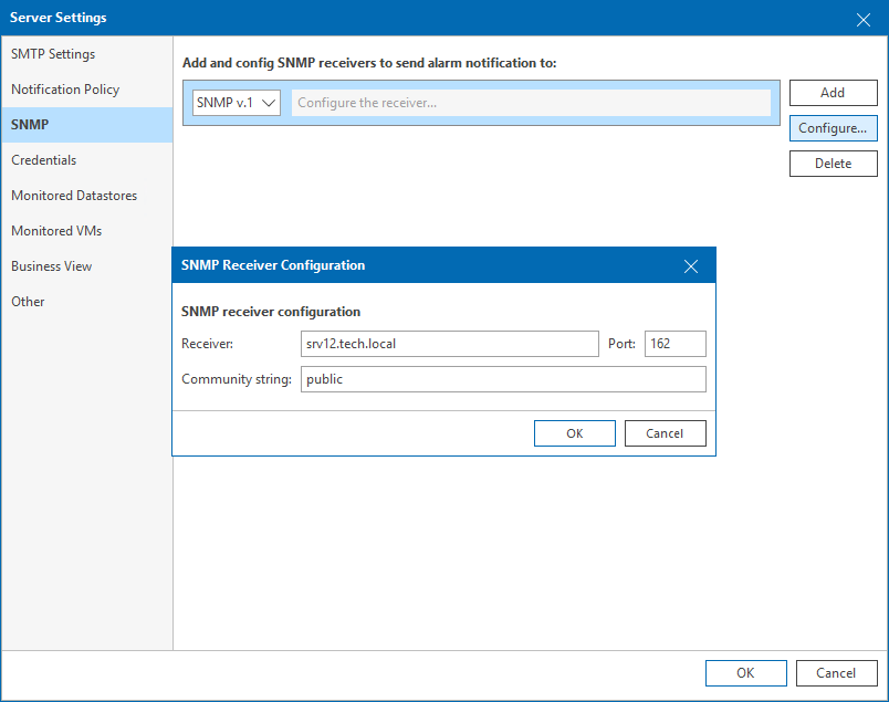Step 2  Configure SNMP Settings in Veeam ONE - Veeam ONE Alarms Guide
