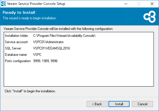 Veeam Service Provider Console v4  installation summary review