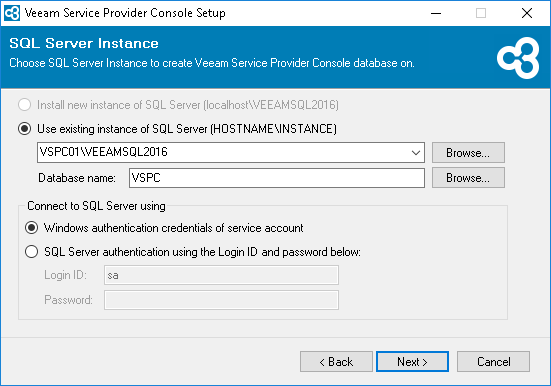 Veeam Service Provider Console v4  new SQL server installation and connection