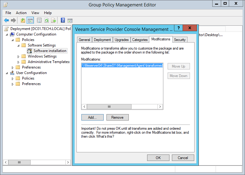 Step 1  Deploy Management Agents Using Group Policy - Veeam