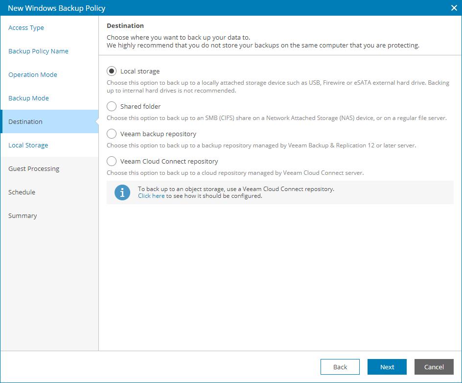 Step 8  Choose Backup Destination - Veeam Availability Console Guide
