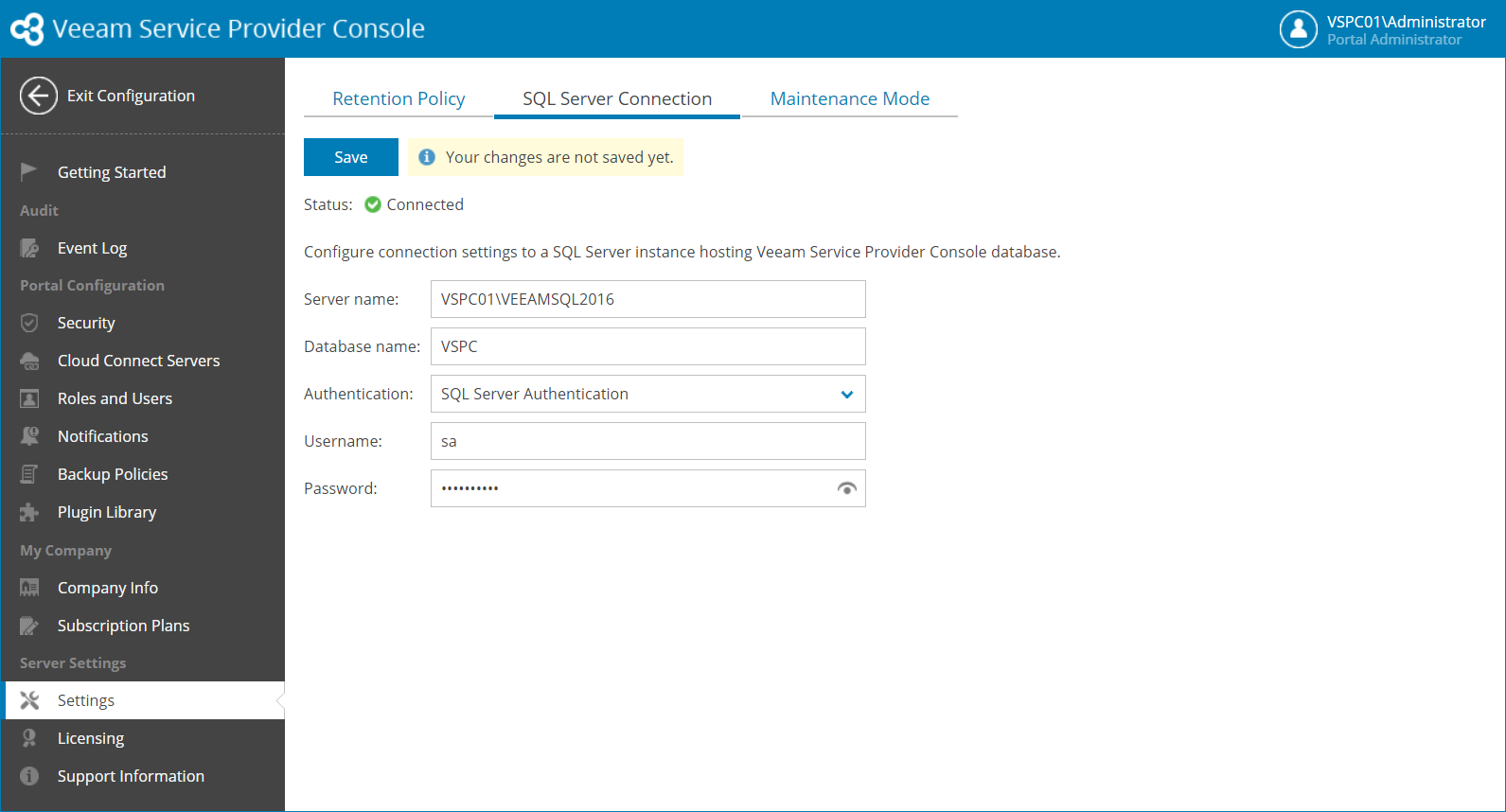 Configuring SQL Server Connection Settings - Veeam