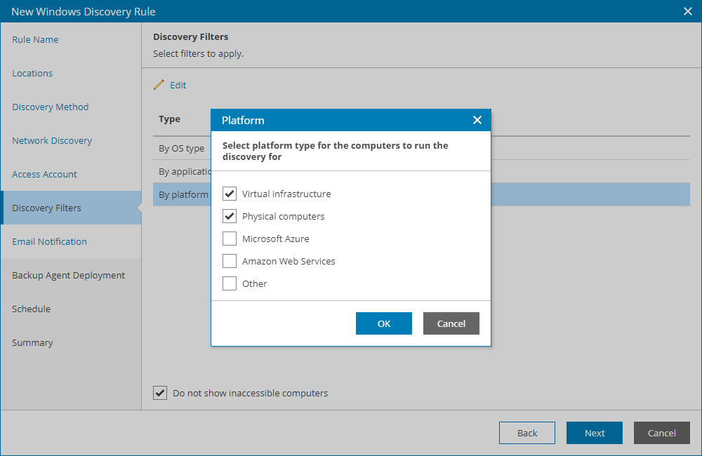 configuring network based discovery rules veeam availability