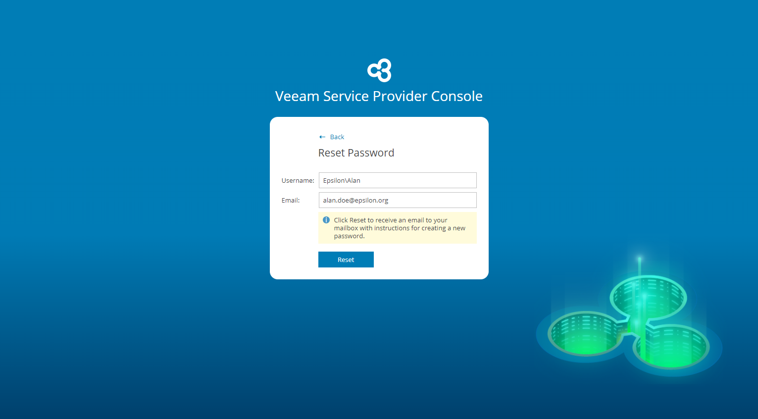 Resetting Password - Veeam Availability Console Guide for End Users