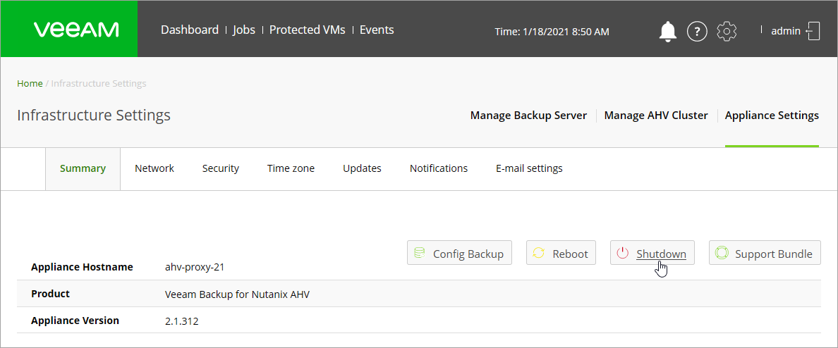 Rebooting/Shutting Down Proxy Appliance - Veeam Availability