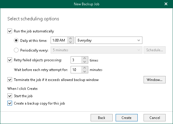 step 5 specify scheduling options veeam backup for microsoft