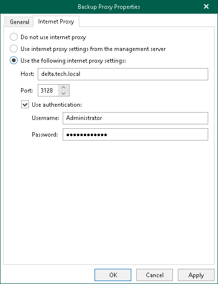 Configuring Internet Proxy Server for Backup Proxies - Veeam Backup