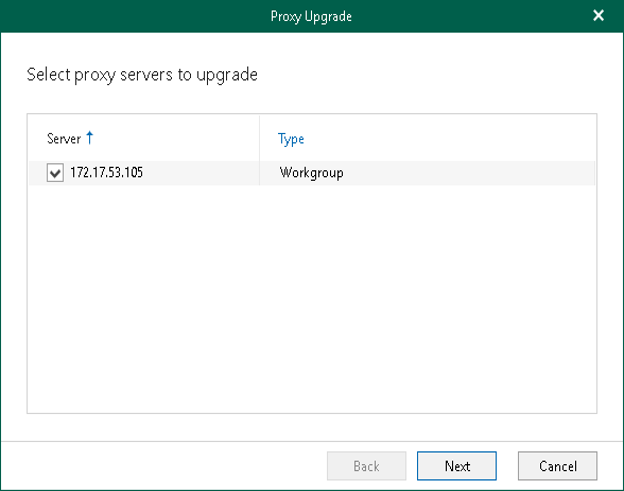 Step 1  Select Backup Proxy Server to Upgrade - Veeam Backup