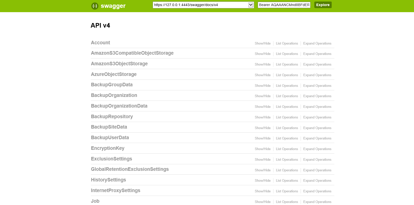 Evaluation with Swagger UI - Veeam Backup for Microsoft