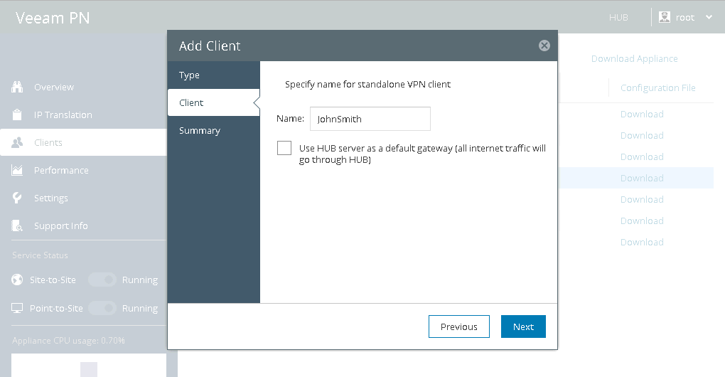 Set Up VPN from Endpoints to Local Site - Veeam PN User Guide