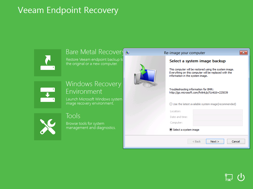 Using microsoft windows recovery environment veeam for Window recovery