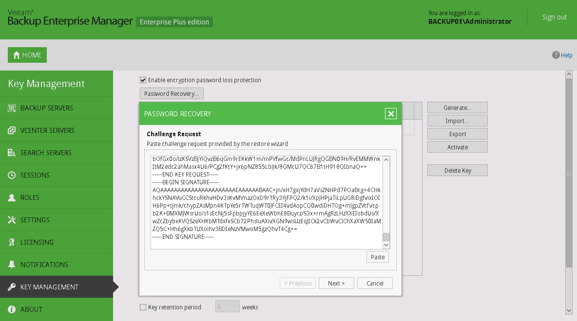 Restoring Data from Encrypted Backup File Without Password