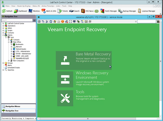 Step 2  Connect to the Endpoint: Veeam Endpoint Backup for LabTech